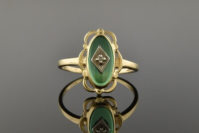 Yellow Gold Ring With Green Center