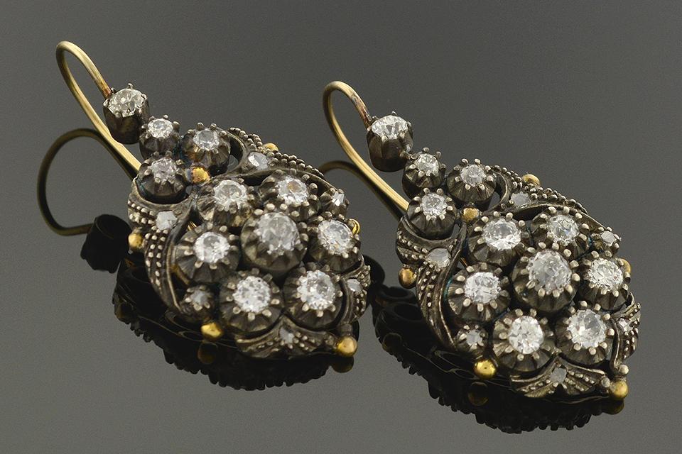 Georgian Diamond Dangle Earrings