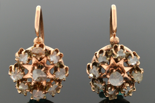 Victorian Rose Cut Diamond Earrings