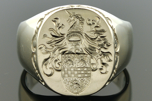 Hand Carved Gents Family Crest Ring