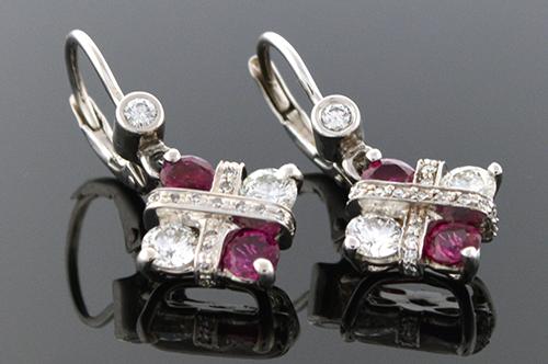 Modern Ruby & Diamond Dangle Earrings