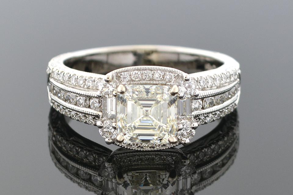 Asscher Cut Diamond Engagement Ring