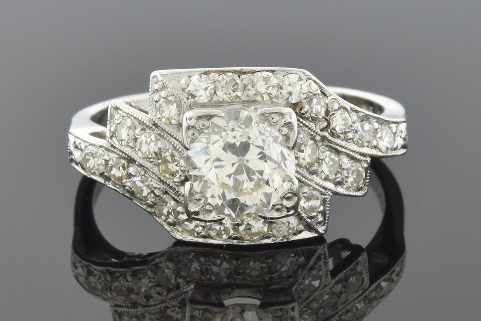 Symmetrically Asymmetrical Art Deco Diamond Ring
