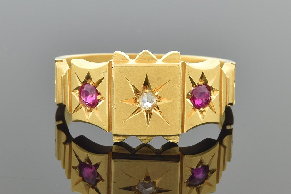 English Ruby and Diamond Ring