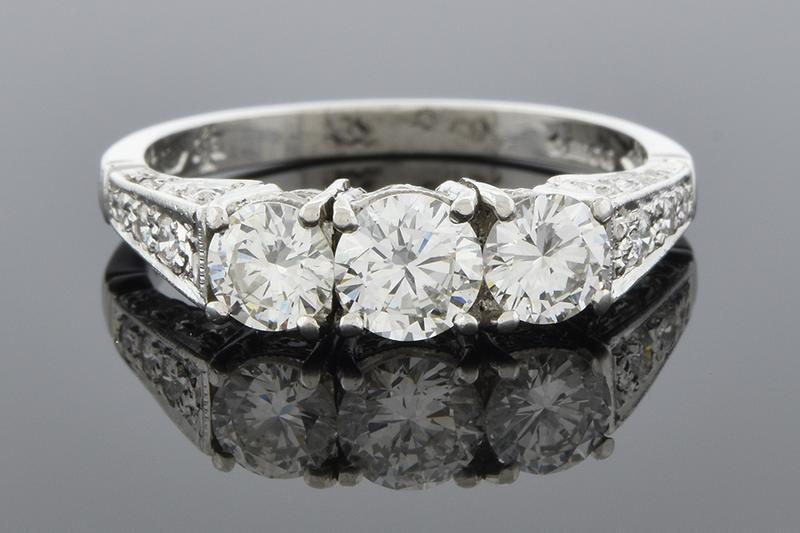 Vintage Inspired Three Stone Diamond Ring
