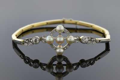 Edwardian Pearl and Diamond Bracelet