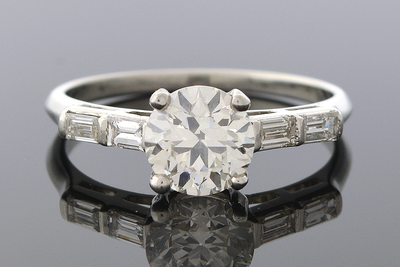 Diamond Engagement Ring with Double Baguette Sides