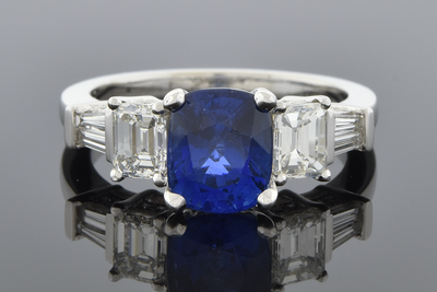 Bold Sapphire and Diamond Ring