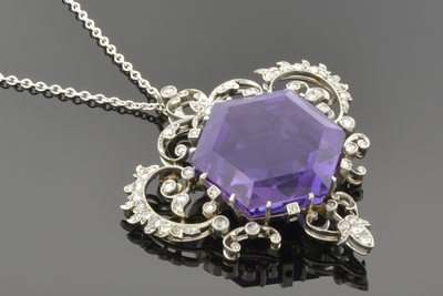 Edwardian Necklace with Hexagon Amethyst