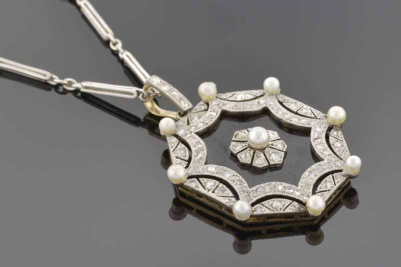 Edwardian Onyx, Pearl and Diamond Necklace