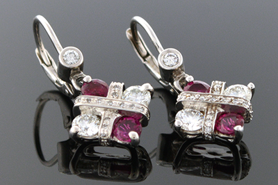 Modern Ruby & Diamond Dangle Earrings
