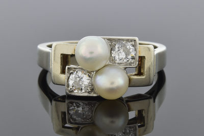 Pearl and Diamond Geometric Bypass Ring