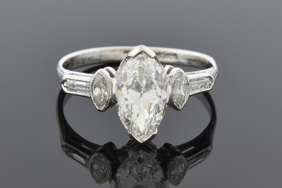 Art Deco 1 20 Carat Marquise Diamond Engagement Ring