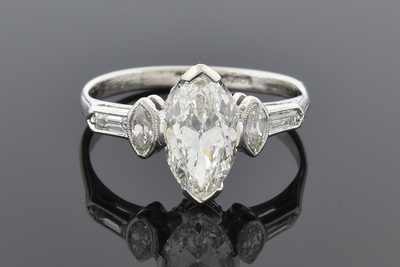 Art Deco 1.20 Carat Marquise Diamond Engagement Ring