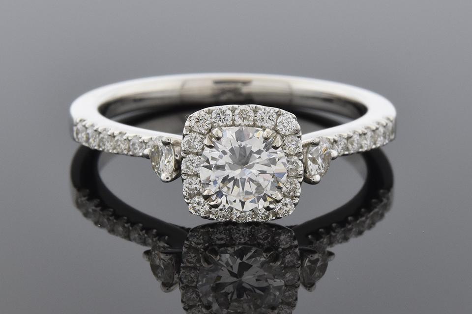 Item #6179 Diamond Halo Engagement Ring with Subtle Details