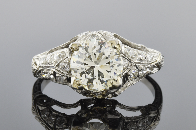 Detailed Art Deco Diamond Engagement Ring