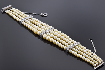 Vintage Multi Strand Pearl and Diamond Bracelet