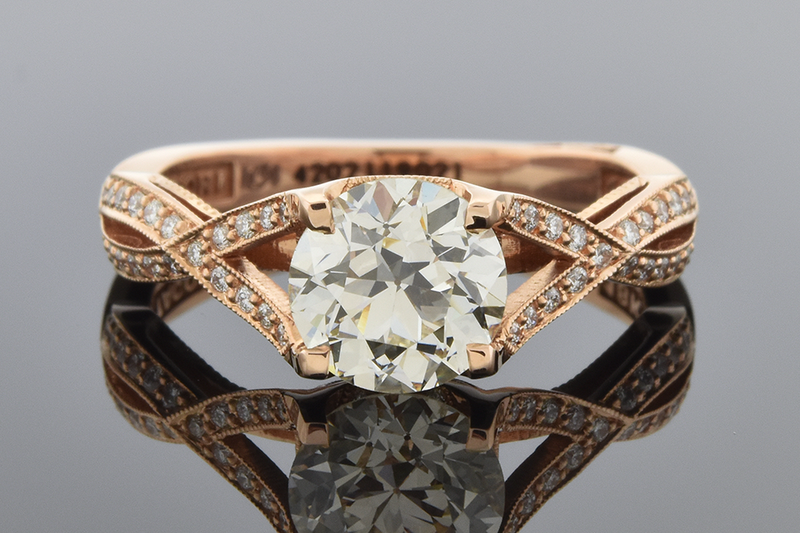 Engagement Ring with Diamond Accented Crisscross Design