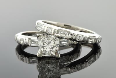Classic Princess Cut Diamond Wedding Set