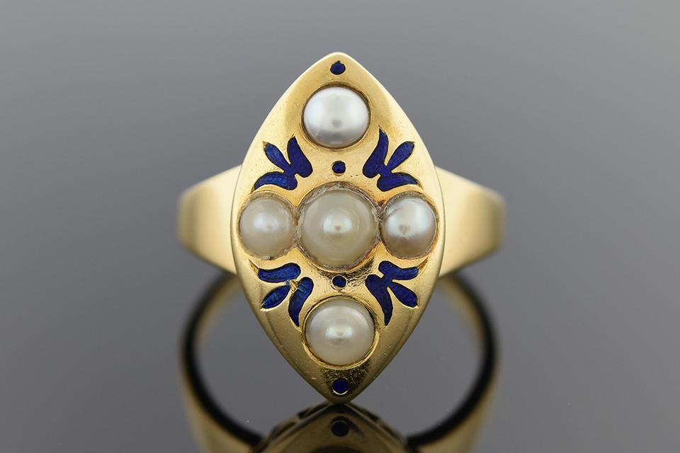Bold Art Nouveau Ring with Blue Enamel