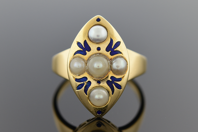 Bold Art Nouveau Ring with Blue Enamel