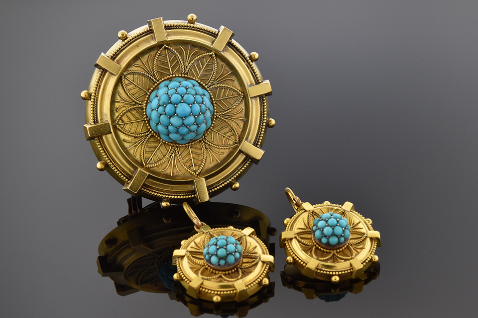 Etruscan Design Turquoise Earring and Brooch Suite