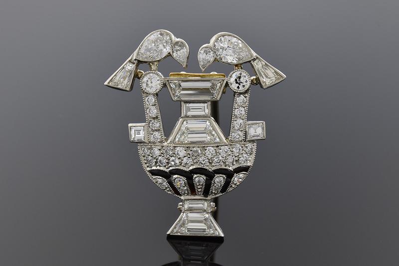 Art Deco Diamond Bird Fountain Brooch
