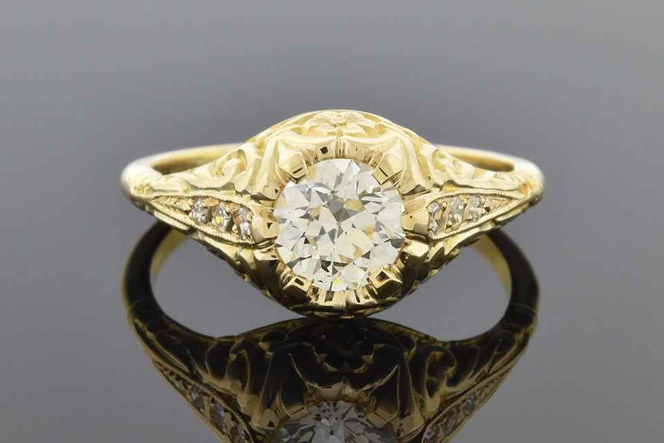Art Nouveau Inspired Diamond Engagement Ring