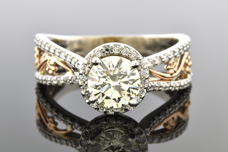 Diamond Halo Engagement Ring with Rose Gold Floral Details