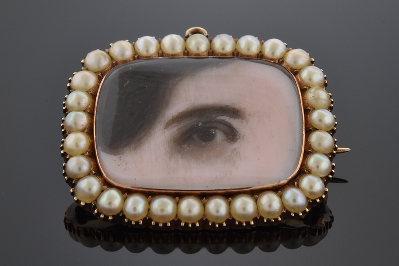 Lover's Eye Brooch with Natural Pearl Frame