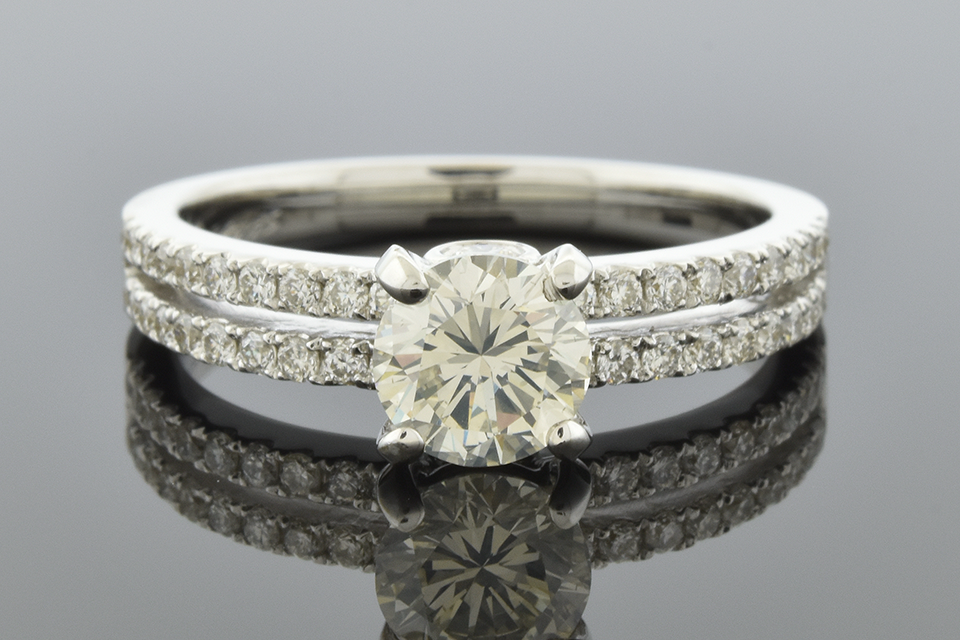 Double Band Diamond Engagement Ring