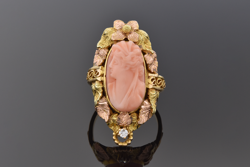 Coral Cameo Ring