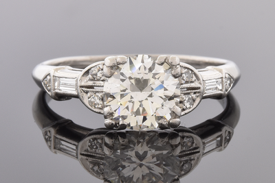 Art Deco Engagement Ring with Unique Diamond Details