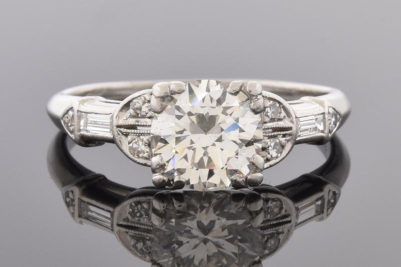 Art Deco Engagement Ring with Unique Diamond Details