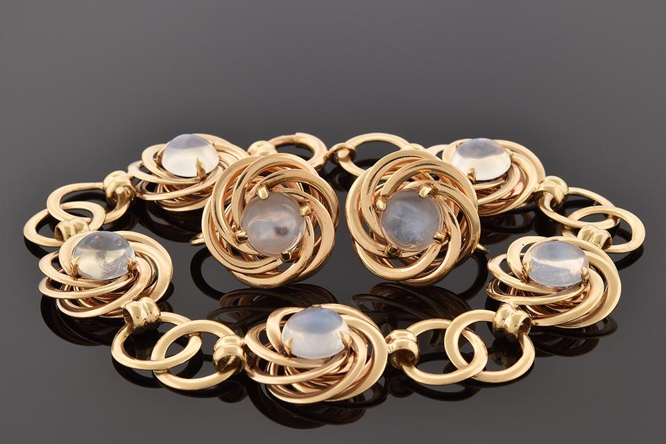 Moonstone Bracelet & Earring Suite by F&F Felger