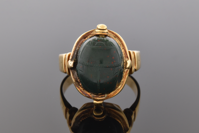 Egyptian Revival Carved Bloodstone Scarab Ring