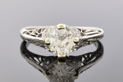 Lovely Handmade Art Deco Diamond Engagement Ring