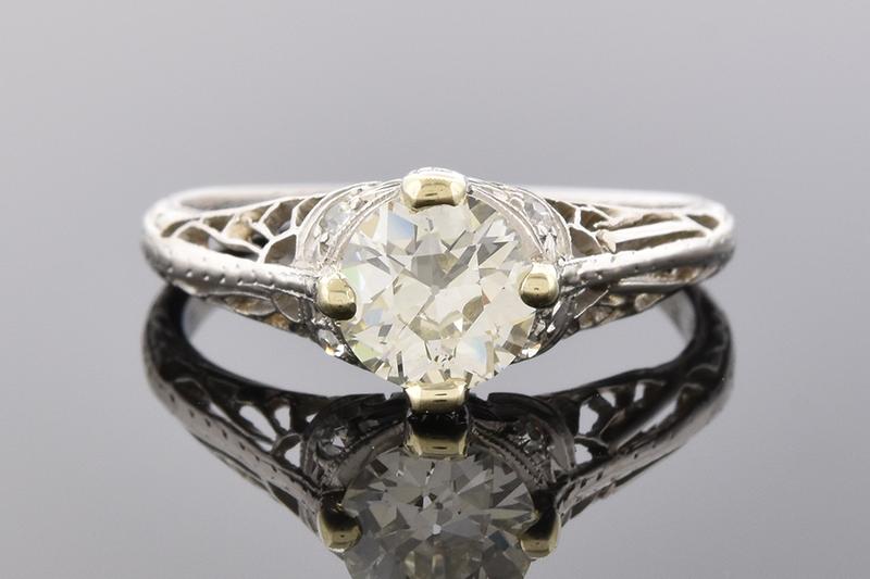 Lovely Handmade Art Deco Diamond Engagement Ring