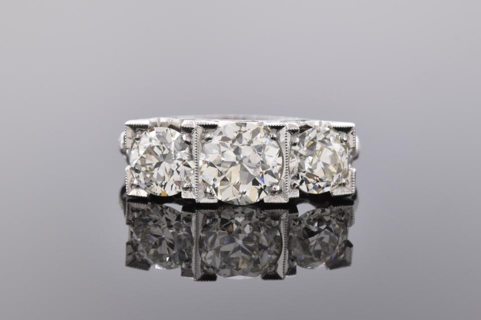Art Deco Three Stone Square Set Diamond Ring