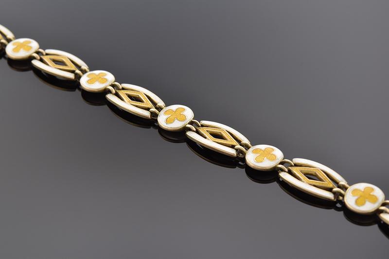 White and Yellow Enamel English Bracelet