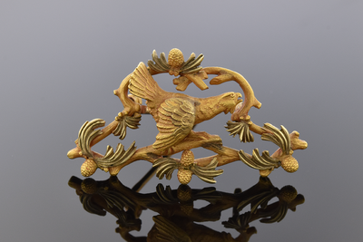Art Nouveau Bird Pin Two Tone