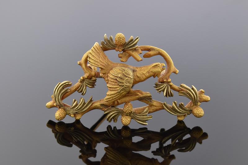 Art Nouveau Bird Pin Two Tone