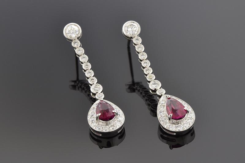 Ruby and Diamond Dangle Earrings