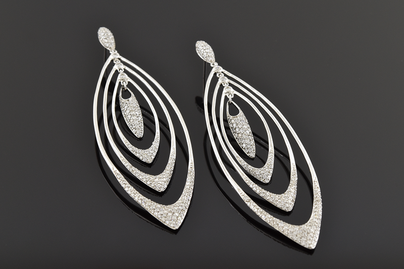 Long Loops Diamond Dangle Earrings