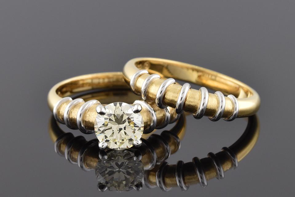 Item #5135 Wedding Set with Artistic Platinum Wire Detail