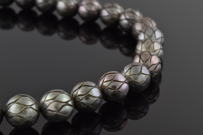 Carved Strand Of Tahitian Pearls