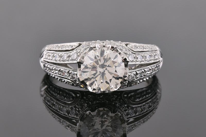 Art Deco Inspired Modern Diamond Engagement Ring