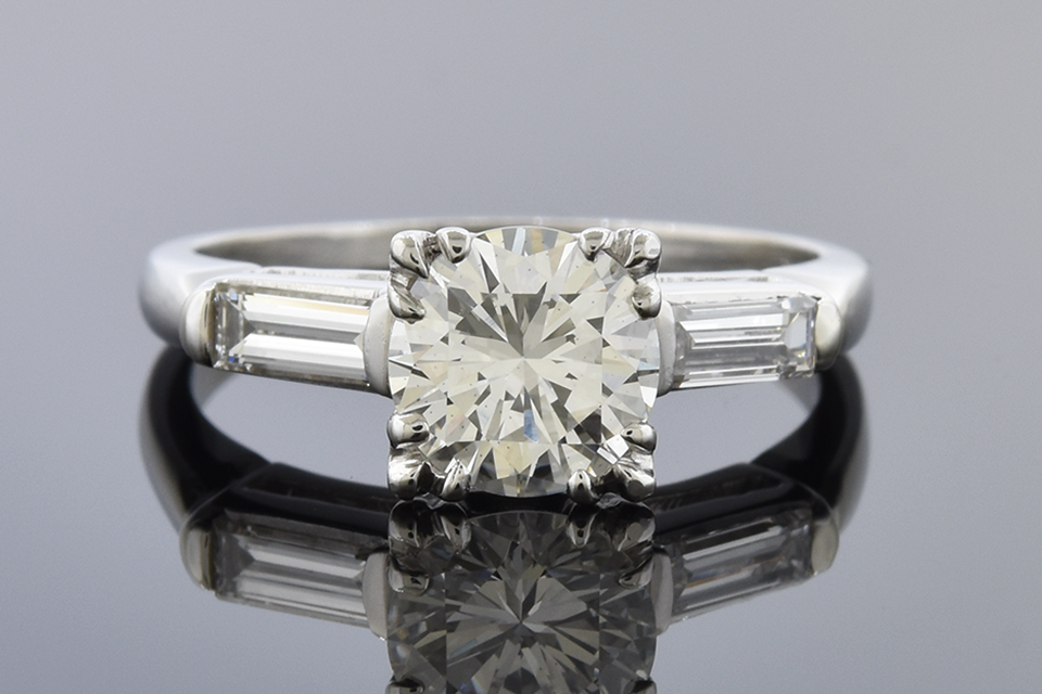Classic Baguette Accented Diamond Engagement Ring