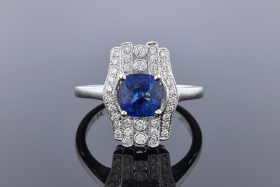 Vintage Inspired No Heat Sapphire and Diamond Ring