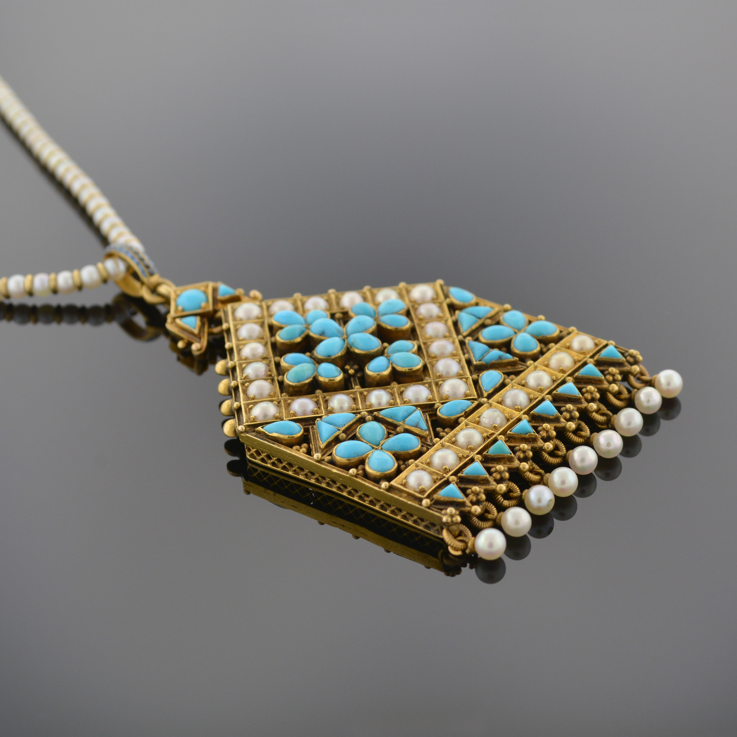 Natural Pearl and Persian Turquoise Pendant
